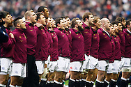 The England team line up for the national anthem during the RBS Six Nations match between England and Scotland at Twickenham Stadium, UK, on the 2nd February 2013. (Photo by Andrew Tobin www.slikimages.com)