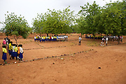 Morning school assembly at Pope John.s Catholic School in northern Ghana.