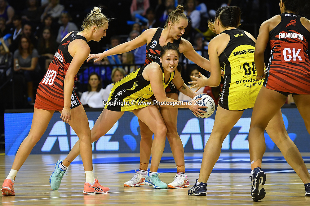 Pulse's Whitney Souness (C looks to pass during the ANZ Premiership netball match between the Wellington Pulse vs Mainland Tactix at TSB Arena in Wellington on Sunday the 9th of April 2017. Copyright Photo by Marty Melville / www.Photosport.nz