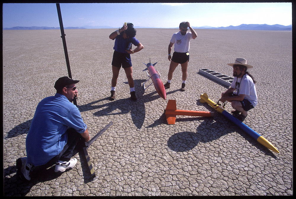 Amateur rocket launch. Preparing for the launch of a rocket during the annual Black Rock X amateur rocketry event in the Black Rock desert, Nevada, USA. This huge flat expanse of land is a popular launch site for large and powerful amateur rockets as it is far from civilization and has little natural animal or plant life.