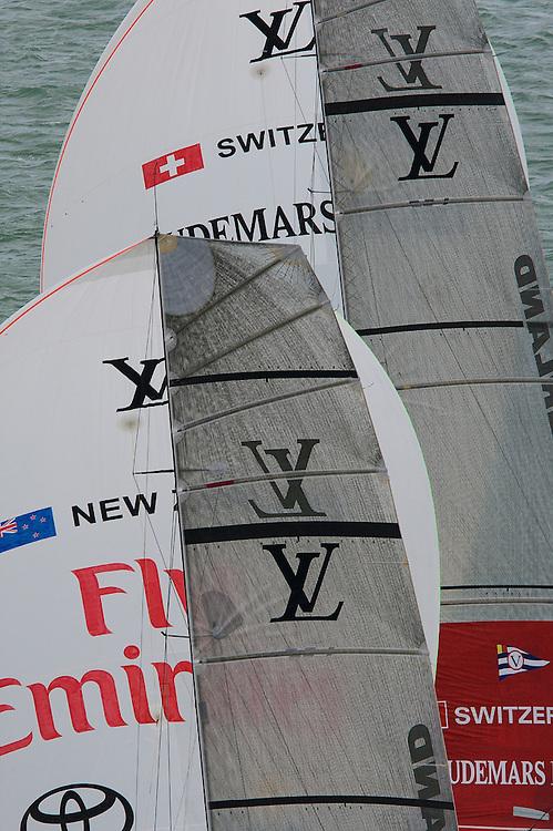 NEW ZEALAND, Auckland,13th February 2009, Louis Vuitton Pacific Series, Final, Emirates Team NZ vs Alinghi, Race 1, Alinghi leads Emitates Team NZ on leg 2