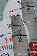 NEW ZEALAND, Auckland,13th February 2009, Louis Vuitton Pacific Series, Final, Emirates Team NZ vs Alinghi, Race 1, Alinghi leads Emitates Team NZ on leg 2