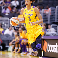 22 June 2014: forward/center Candace Parker (3) of the Los Angeles Sparks brings the ball up court during the San Antonio Stars 72-69 victory over the Los Angeles Sparks, at the Staples Center, Los Angeles, California, USA.