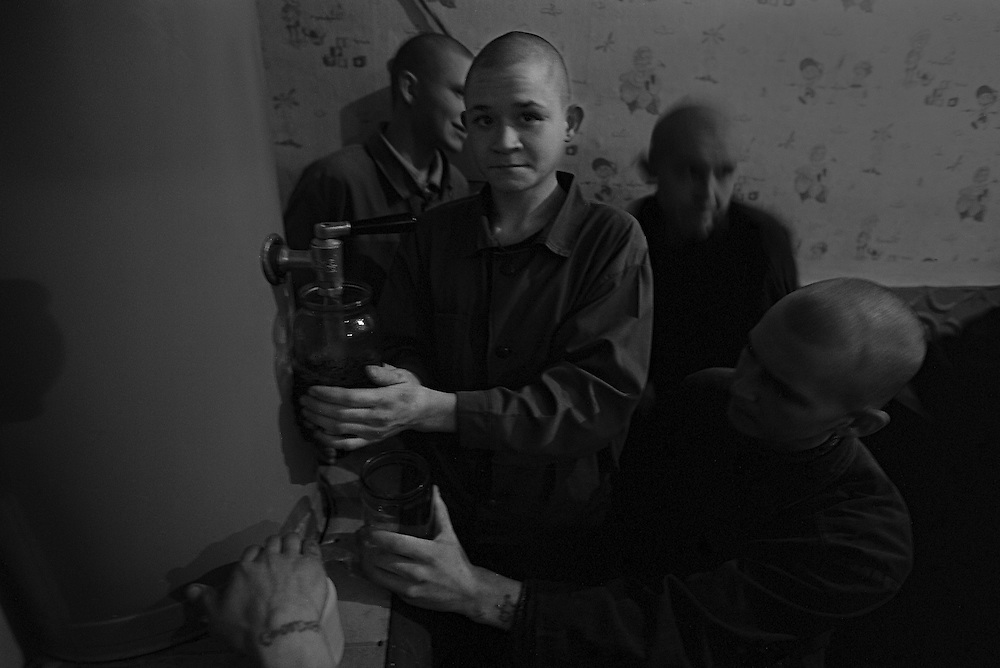 The prisoners children prepare very strong tea (chefir) on the evening at the colony for prisoner's children in Siberian town Leninsk-Kuznetsky, Russia, 04 December 1999. The prisoners use very strong tea as a substitute of the alcohol and drug.