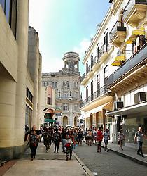 Old Havana, Cuba. Havana vieja. People walking in Obispo street.