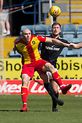 12th May 2018, Dens Park, Dundee, Scotland; Scottish Premier League football, Dundee versus Partick Thistle; Dan Jefferies of Dundee and Conor Sammon of Partick Thistle