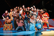 Actors on the set of Hair at Le Petit Theatre du Vieux Carre in New Orleans, LA.