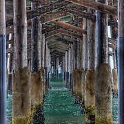 Under a pier at Newport Beach