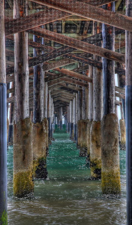 Under a pier at Newport Beach