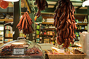Dried sausages hang in a stall in Toronto's St. Lawrence Market.