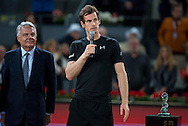 Andy Murray speaks following the final of the Madrid Open at Manzanares Park Tennis Centre, Madrid<br /> Picture by EXPA Pictures/Focus Images Ltd 07814482222<br /> 08/05/2016<br /> ***UK &amp; IRELAND ONLY***<br /> EXPA-ESP-160509-0109.jpg