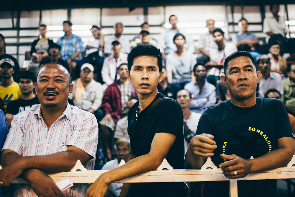 The crowd and gamblers at Thepprasit Boxing Stadium in Pattaya, Thailand.