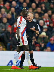 LIVERPOOL, ENGLAND - Saturday, January 19, 2019: Crystal Palace's Mamadou Sakho is spoken to by referee Jonathan Moss during the FA Premier League match between Liverpool FC and Crystal Palace FC at Anfield. (Pic by David Rawcliffe/Propaganda)