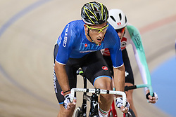 March 2, 2018 - Apeldoorn, Netherlands - Italian Liam Bertazzo competes during the men's points race final during the UCI Track Cycling World Championships in Apeldoorn on March 2, 2018. (Credit Image: © Foto Olimpik/NurPhoto via ZUMA Press)