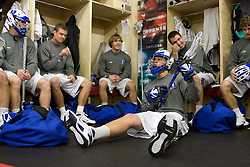 18 May 2008: Duke Blue Devils attackman Tucker Virtue (38) plays air guitar on his stick before a 21-10 win over the Ohio State Buckeyes during the NCAA quarterfinals held at Cornell University in Ithaca, NY.