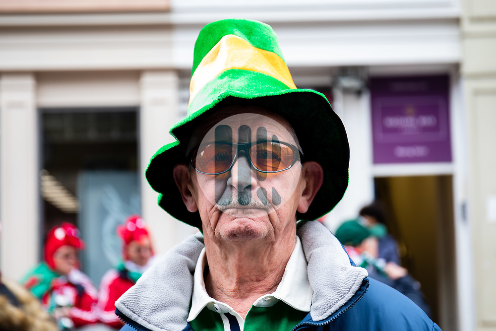 An Ireland fan enjoying the pre match atmosphere<br /> <br /> Photographer Simon King/Replay Images<br /> <br /> Six Nations Round 5 - Wales v Ireland - Saturday 16th March 2019 - Principality Stadium - Cardiff<br /> <br /> World Copyright © Replay Images . All rights reserved. info@replayimages.co.uk - http://replayimages.co.uk