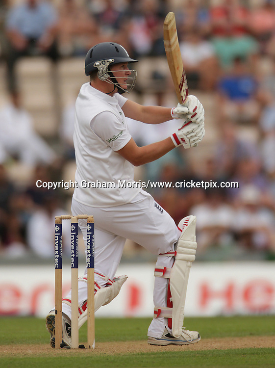 Gary Ballance bats during his century in the third Investec Test Match between England and India at the Ageas Bowl, Southampton. Photo: Graham Morris/www.cricketpix.com (Tel: +44 (0)20 8969 4192; Email: graham@cricketpix.com) 27/07/14