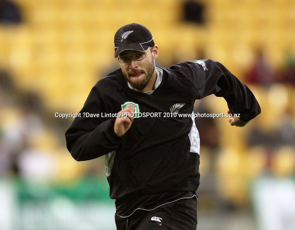 NZ captain Daniel Vettori.<br /> Fifth Chappell-Hadlee Trophy one-day international cricket match - New Zealand v Australia at Westpac Stadium, Wellington. Saturday, 13 March 2010. Photo: Dave Lintott/PHOTOSPORT