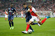 Monaco's French forward Kylian Mbappe Lottin vies with Paris Saint-Germain's Brazilian defender Thiago Silva during the French League Cup, Final football match between AS Monaco and Paris Saint-Germain FC on April 1, 2017 at the Parc Olympique Lyonnais stadium in Decines-Charpieu near Lyon, France - Photo Benjamin Cremel / ProSportsImages / DPPI