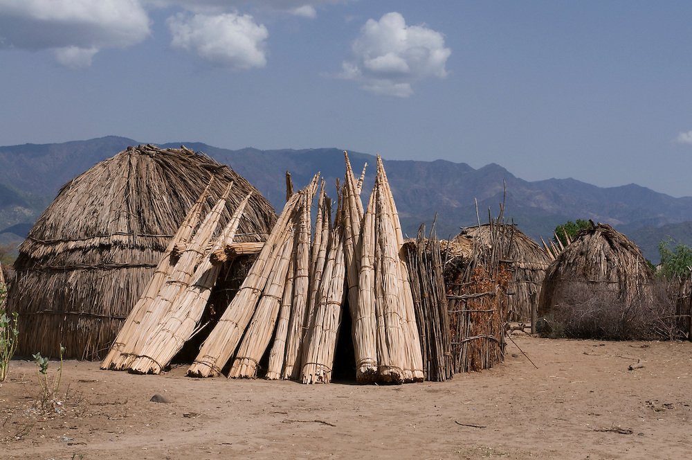Traditional reed thached huts from the Arbore tribe, Omovalley, Ethiopia,Africa