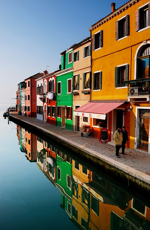 Houses in colorful Burano in the Venetian Lagoon, Italy.