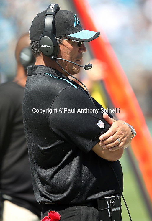 Carolina Panthers head coach Ron Rivera looks on from the sideline during the 2015 NFL week 2 regular season football game against the Houston Texans on Sunday, Sept. 20, 2015 in Charlotte, N.C. The Panthers won the game 24-17. (©Paul Anthony Spinelli)