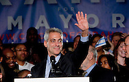 Rahm Emanuel celebrates his mayoral victory.