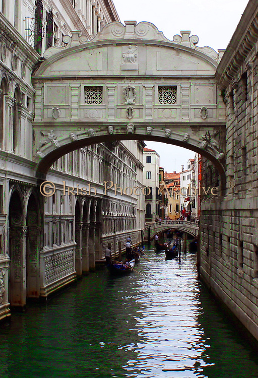 The Bridge of Sighs located in Venice, northern Italy. The limestone bridge passes over the Rio di Palazzo and connects the New Prison to the interrogation rooms in the Doge's Palace. Built 1602.