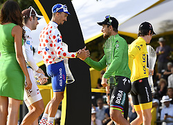 July 29, 2018 - Paris Champs-Elysees, France - PARIS CHAMPS-ELYSEES, FRANCE - JULY 29 : LATOUR Pierre Roger (FRA) of AG2R La Mondiale, THOMAS Geraint (GBR) of Team SKY, ALAPHILIPPE Julian (FRA) of Quick - Step Floors, SAGAN Peter (SVK) of Bora - Hansgrohe pictured on the podium during stage 21 of the 105th edition of the 2018 Tour de France cycling race, a stage of 116 kms between Houilles and Paris Champs-Elysees on July 29, 2018 in Paris Champs-Elysees, France, 29/07/18 (Credit Image: © Panoramic via ZUMA Press)
