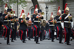The Anzac Day tradition -WW1 memorial. The the Blues and Royals play in a service of remembrance at the Cenotaph on Whitehall, London, United Kingdom. Friday, 25th April 2014. Picture by Daniel Leal-Olivas / i-Images