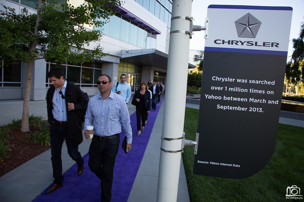 Executives of Chrysler visit Yahoo! Inc. for a special event at Yahoo! Inc. in Sunnyvale, California, on September 25, 2013. (Stan Olszewski/SOSKIphoto)