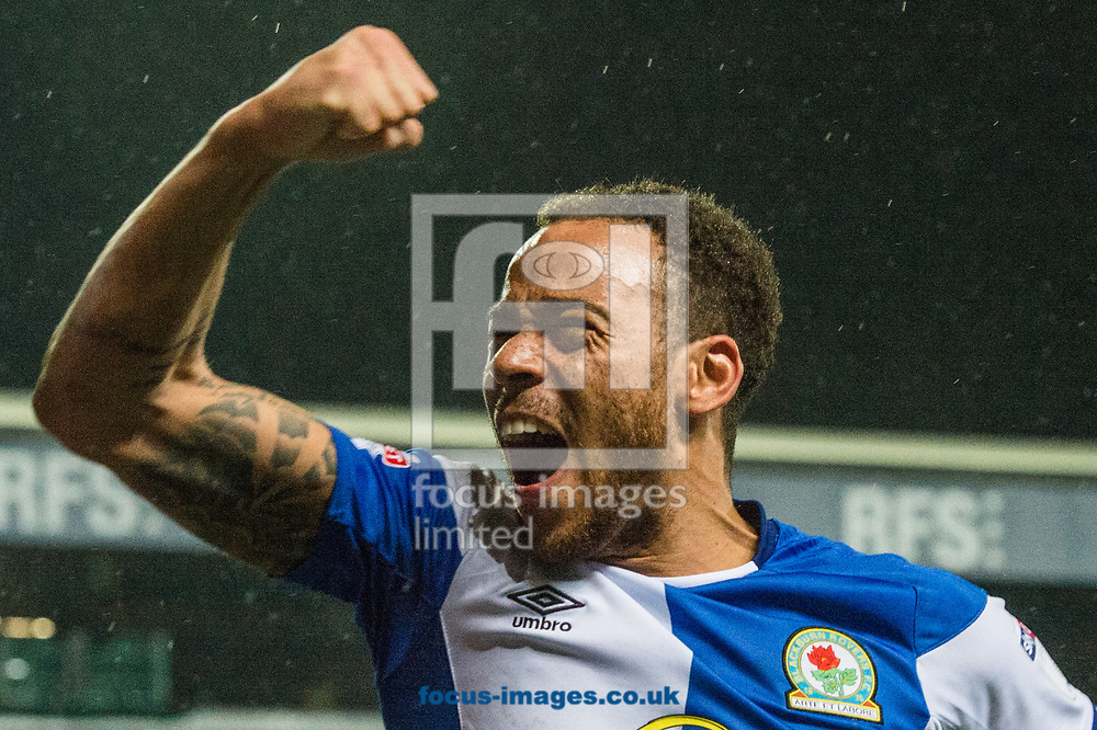 Elliott Bennett of Blackburn Rovers celebrates his sides victory following the Sky Bet League 1 match at Ewood Park, Blackburn<br /> Picture by Matt Wilkinson/Focus Images Ltd 07814 960751<br /> 29/03/2018