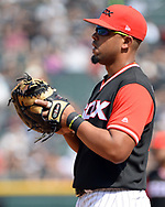 """CHICAGO - AUGUST 27:  Jose Abreu #79 of the Chicago White Sox looks on against the Detroit Tigers during """"Players Weekend"""" on August 27, 2017 at Guaranteed Rate Field in Chicago, Illinois.  (Photo by Ron Vesely/MLB Photos via Getty Images)  *** Local Caption *** Jose Abreu"""