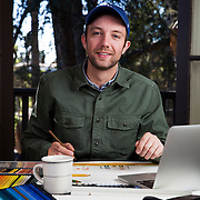 Author and illustrator Jon Klassen at his Los Angeles home where he writes and draws for children books. Please email your licensing questions or requests to Legal[at] ToddBigelowPhotography[dot]com