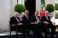 The three former presidents of Portugal, Mario Soares (1986-1996), Ramalho Eanes (1976-1986), Jorge Sampaio (1996-2006) and Cavaco Silva (second from left), current Portuguese President of the Republic, in the ceremonies of the 37 Anniversary of April 25. Date of the revolution in Portugal which ended the dictatorial regime of Salazar and ordered democracy. Also known as the Carnation Revolution.