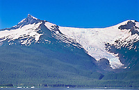 Sumdum Glacier of the Coast Mountains with 6,660 ft.Mount Sundum on the left.  Southeast Alaska.