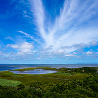 General view looking west from atop the Currituck Lighthouse in the Corolla section of the Outer Banks, North Carolina, USA