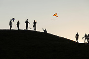 People flying kites, Gasworks Park, Seattle, Washington, USA
