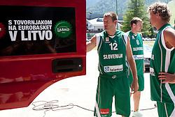Goran Jagodnik, Matjaz Smodis and Miha Zupan during filming of video for Eurobasket Lithuania 2011 of Slovenian National Basketball team during training camp in Kranjska Gora, on July 12, 2011, in Kranjska Gora, Slovenia. (Photo by Vid Ponikvar / Sportida)