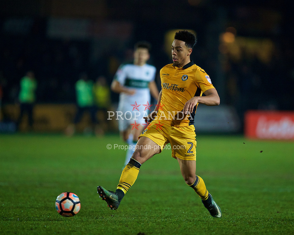 NEWPORT, WALES - Wednesday, December 21, 2016: Newport County's Jazzi Barnum-Bobb in action against Plymouth Argyle during the FA Cup 2nd Round Replay match at Rodney Parade. (Pic by David Rawcliffe/Propaganda)