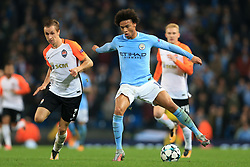 26th September 2017 - UEFA Champions League - Group F - Manchester City v Shakhtar Donetsk - Leroy Sane of Man City battles with Bohdan Butko of Shakhtar - Photo: Simon Stacpoole / Offside.