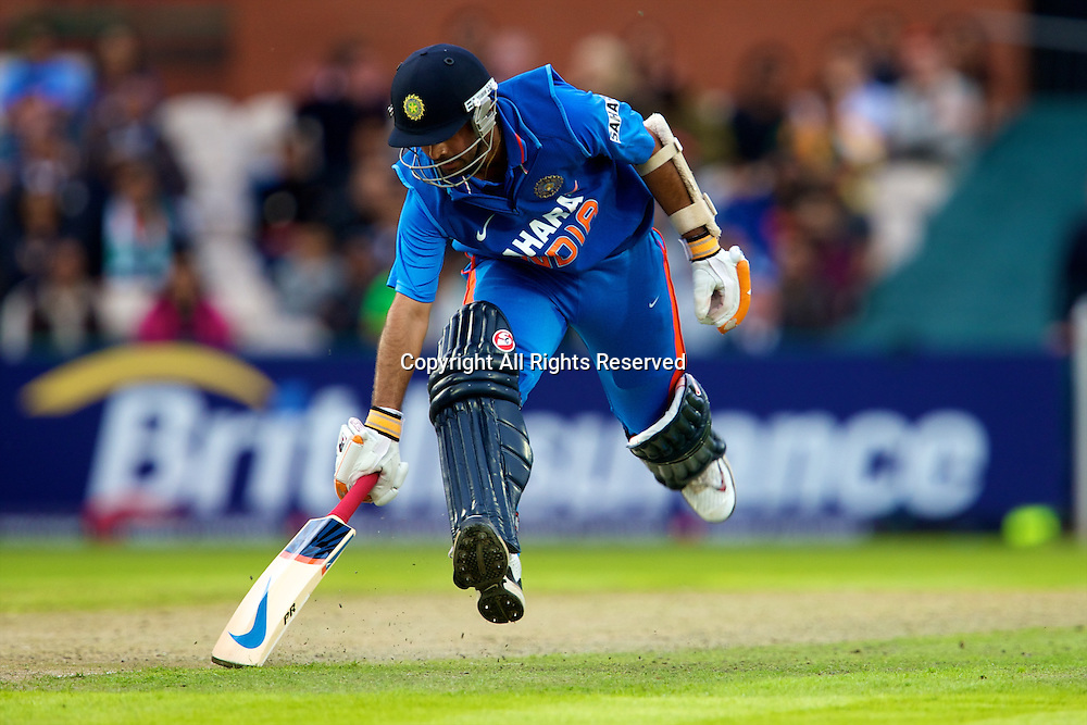 31.08.2011 Natwest International T20 England v India from Old Trafford. Ajunkay Rahane running in.