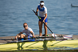 Jan Spik and Tomaz Pirih during rowing at Slovenian National Championship and farewell of Iztok Cop, on September 22, 2012 at Lake Bled, Ljubljana Slovenia. (Photo By Matic Klansek Velej / Sportida)