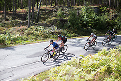 The peloton is stretched out on a short but fast descent on Stage 3 of the Ladies Tour of Norway - a 156.6 km road race, between Svinesund (SE) and Halden on August 20, 2017, in Ostfold, Norway. (Photo by Balint Hamvas/Velofocus.com)