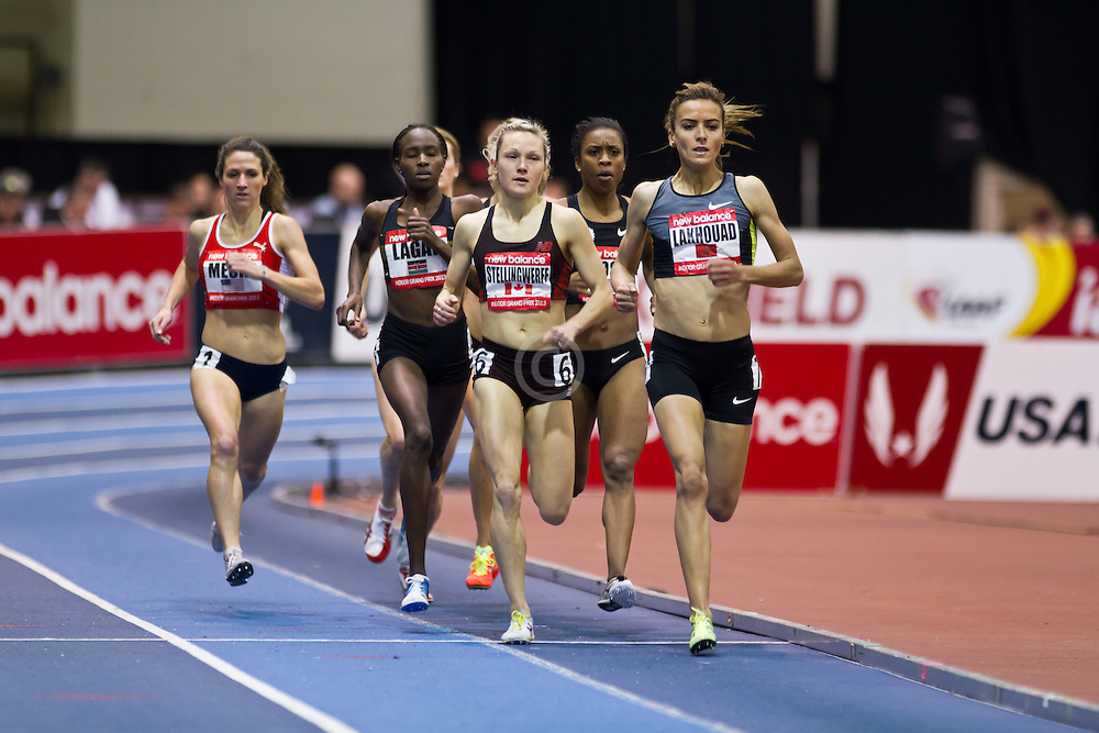 New Balance Indoor Grand Prix track meet: Women's Mile, Btissam Lakhouad, MAR, leads