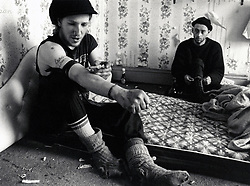 Heroin addicts in squat, Hucknall Road, Nottingham UK 1991