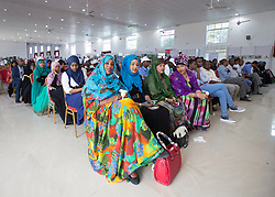 © Licensed to London News Pictures. 4/08/2015. Hargeisa, Somaliland.  An audience gathers for the International Hargeisa Book Festival in the city of Hargeisa within the Republic of Somaliland this week (1 - 6 Aug). <br /> <br /> Over 700 guests are expected to attend along with renowned poets, writers and musicians from both Somaliland, Nigeria and the UK.  As well as the book fair the Women of the World (WOW) event, hosted by Jude Kelly, the Artistic Director of the Southbank Centre in London was held for the first time in the Horn of Africa.   Photo credit : Alison Baskerville/LNP