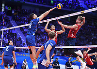 Maxwell Holt of USA, Marko Podrascanin of Serbia.<br /> Torino 30-09-2018 Pala Alpitour <br /> FIVB Volleyball Men's World Championship <br /> Pallavolo Campionati del Mondo Uomini <br /> Finals / 3th place<br /> Serbia - USA  <br /> Foto Antonietta Baldassarre / Insidefoto