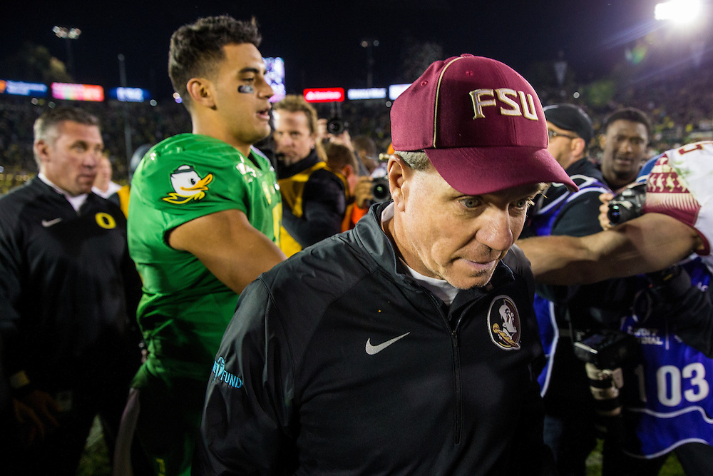Jimbo Fisher, Haed Coach, Florida State University. Photographed at the 2015 Rose Bowl Game in Pasadena, California, on January 1, 2015. (Photograph ©2015 Darren Carroll)