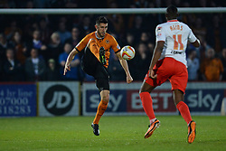 Wolves defender Danny Batth and Stevenage's forward Lucas Akins compete for the ball  - Photo mandatory by-line: Mitchell Gunn/JMP - Tel: Mobile: 07966 386802 01/04/2014 - SPORT - FOOTBALL - Broadhall Way - Stevenage - Stevenage v Wolverhampton Wanderers - League One
